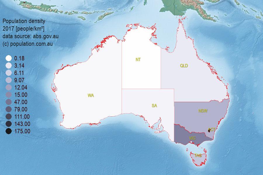 Australia Map 6 States.Population Of Australian States